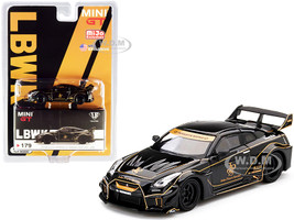 Nissan 35GT-RR Ver. 1 LB-Silhouette WORKS GT RHD Right Hand Drive Black Gold Stripes JPS John Players Special Limited Edition 3000 pieces Worldwide 1/64 Diecast Model Car True Scale Miniatures MGT00179