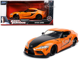 Toyota Supra Orange Black Stripes Fast & Furious 9 F9 2021 Movie 1/24 Diecast Model Car Jada 32097