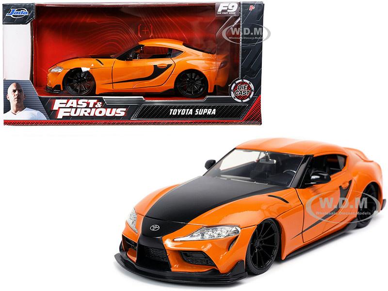 Toyota Supra Orange Black Stripes Fast & Furious 9 F9 2021 Movie 1/24 Diecast Model Car Jada 32097