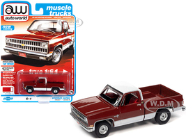 1981 Chevrolet Silverado 10 Fleetside Carmine Red White Red Interior Muscle Trucks Limited Edition 19504 pieces Worldwide 1/64 Diecast Model Car Autoworld 64302 AWSP062 A
