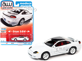 1992 Dodge Stealth R/T Twin Turbo White Black Top Red Interior Modern Muscle Limited Edition 12040 pieces Worldwide 1/64 Diecast Model Car Autoworld 64302 AWSP063 A