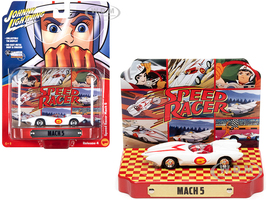 Speed Racer Mach 5 Five White Collectible Tin Display Speed Racer 1/64 Diecast Model Car Johnny Lightning JLDR015 JLSP120