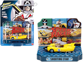 Racer X Shooting Star #9 Yellow Collectible Tin Display Speed Racer 1/64 Diecast Model Car Johnny Lightning JLDR015 JLSP121