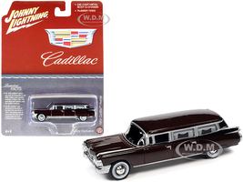 1959 Cadillac Hearse Brown Metallic Special Edition 1/64 Diecast Model Car Johnny Lightning JLSP113