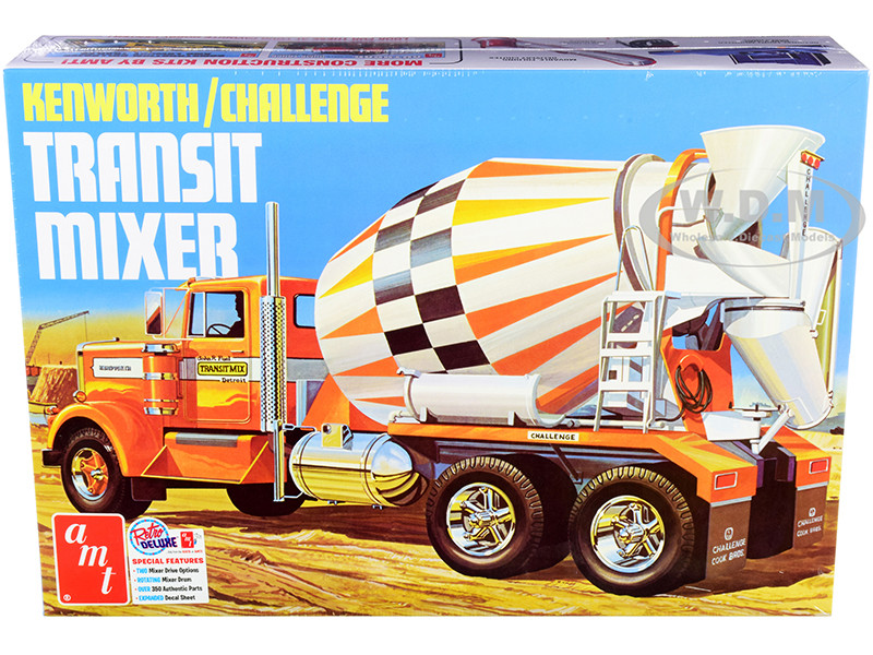 Skill 3 Model Kit Kenworth Challenge Transit Cement Mixer Truck 1/25 Scale Model AMT AMT1215