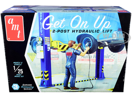 Skill 2 Model Kit Garage Accessory Set #3 2-Post Hydraulic Lift Figurine Get On Up 1/25 Scale Model AMT AMTPP017 M