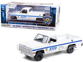 1984 Chevrolet CUCV M1008 Pickup Truck White Blue Stripes NYPD New York City Police Department 1/18 Diecast Model Car Greenlight 13561