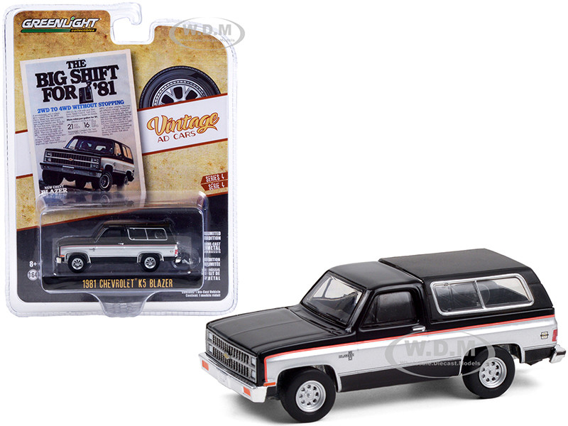 1981 Chevrolet K5 Blazer Black Silver Sides The Big Shift For '81 Vintage Ad Cars Series 4 1/64 Diecast Model Car Greenlight 39060 E