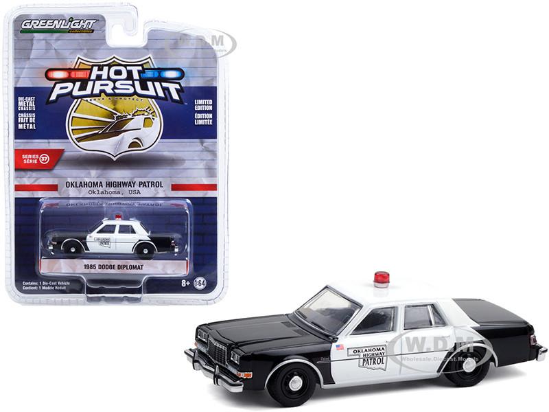 1985 Dodge Diplomat Black White Oklahoma Highway Patrol Hot Pursuit Series 37 1/64 Diecast Model Car Greenlight 42950 C