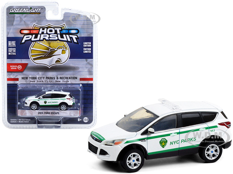 2013 Ford Escape White Green Stripes NYC Parks New York City Department of Parks & Recreation Hot Pursuit Series 37 1/64 Diecast Model Car Greenlight 42950 D