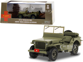 1942 Willys MB Army Green Army Brigadier General MASH 1972 1983 TV Series 1/43 Diecast Model Car Greenlight 86593
