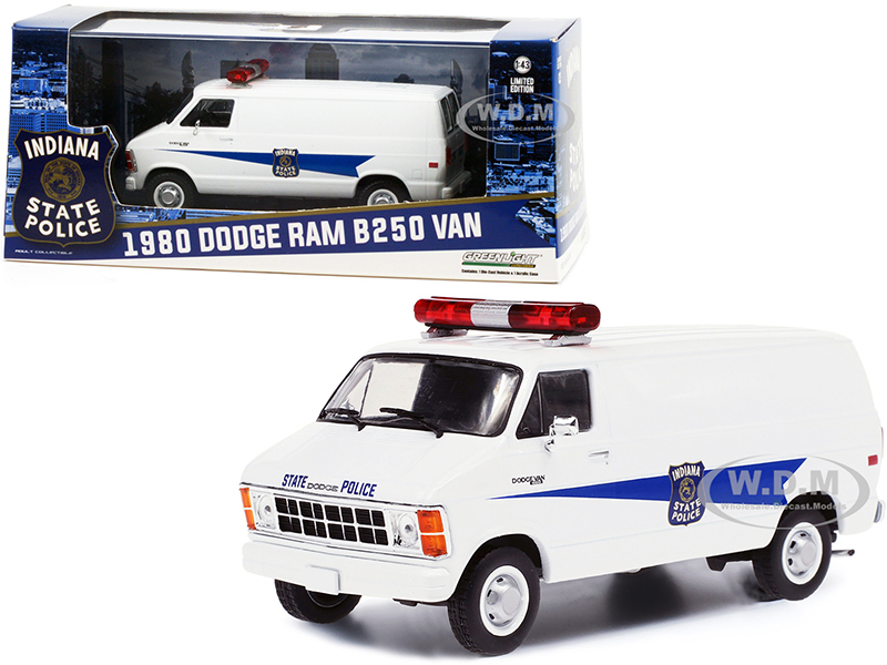 1980 Dodge Ram B250 Van White Indiana State Police 1/43 Diecast Model Greenlight 86599
