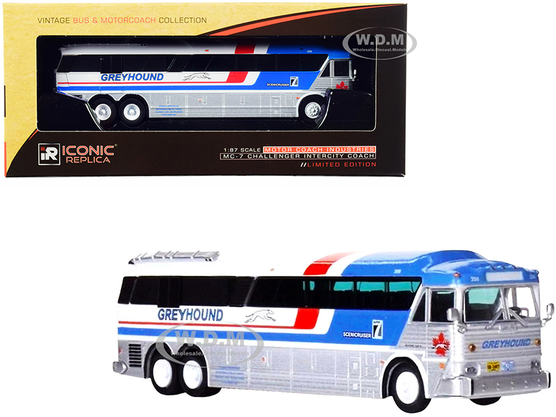 1970 MCI MC-7 Challenger Intercity Coach Bus Greyhound Canada White and Silver Stripes Vintage Bus & Motorcoach Collection 1/87 HO Diecast Model Iconic Replicas 87-0254