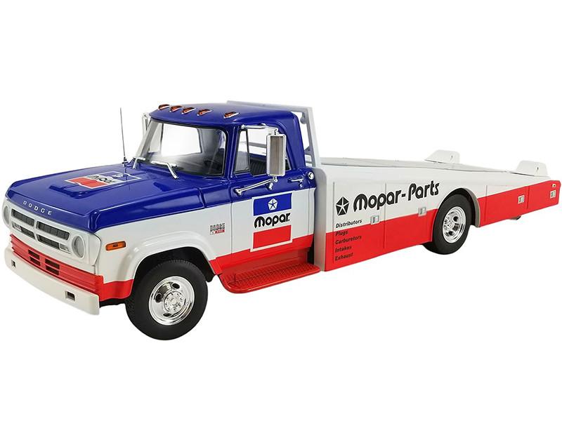 1970 Dodge D300 Ramp Truck Mopar Parts Blue White Red Bottom 1/18 Diecast Model Car ACME A1801903