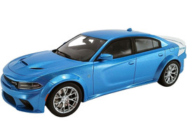 2020 Dodge Charger SRT Hellcat Widebody B5 Blue Metallic White Tail Stripe Daytona 50th Anniversary Edition USA Exclusive Series 1/18 Model Car GT Spirit ACME US031
