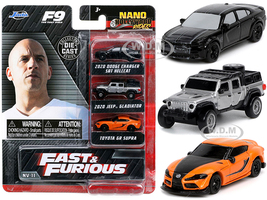 Fast & Furious 9 2021 Movie 3 piece Set Nano Hollywood Rides Series Diecast Model Cars Jada 32481