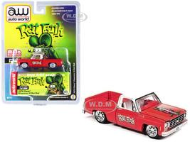 1978 Chevrolet Cheyenne 10 Rat Rod Pickup Truck Matt Red White Top Rat Fink Limited Edition 3000 pieces Worldwide 1/64 Diecast Model Car Autoworld CP7723 A