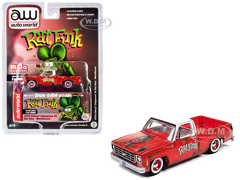 1978 Chevrolet Cheyenne 10 Rat Rod Pickup Truck Red White Top Weathered Rat Fink Limited Edition 3000 pieces Worldwide 1/64 Diecast Model Car Autoworld CP7723 B