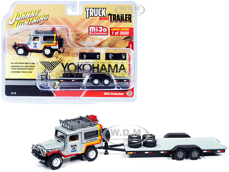 1980 Toyota Land Cruiser #158 Silver with Stripes Flatbed Car Trailer Yokohama Limited Edition 3600 pieces Worldwide Truck and Trailer Series 1/64 Diecast Model Car Johnny Lightning JLCP7346