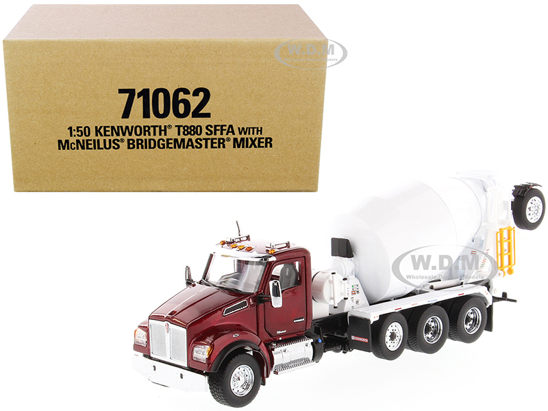Kenworth T880 SFFA with McNeilus Bridgemaster Mixer Truck Radiant Red White 1/50 Diecast Model Diecast Masters 71062