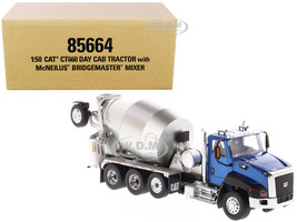 CAT Caterpillar CT660 Day Cab Tractor with McNeilus Concrete Mixer Truck Blue Metallic 1/50 Diecast Model Diecast Masters 85664
