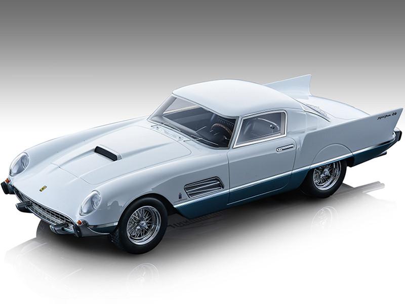 1956 Ferrari 410 Super Fast 0483SA Gloss White Metallic Azure Blue Mythos Series Limited Edition 175 pieces Worldwide 1/18 Model Car Tecnomodel TM18-160A