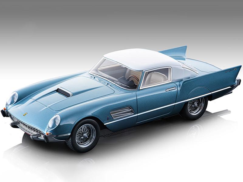 1956 Ferrari 410 Super Fast 0483SA Metallic Azure Blue White Top Mythos Series Limited Edition 110 pieces Worldwide 1/18 Model Car Tecnomodel TM18-160C