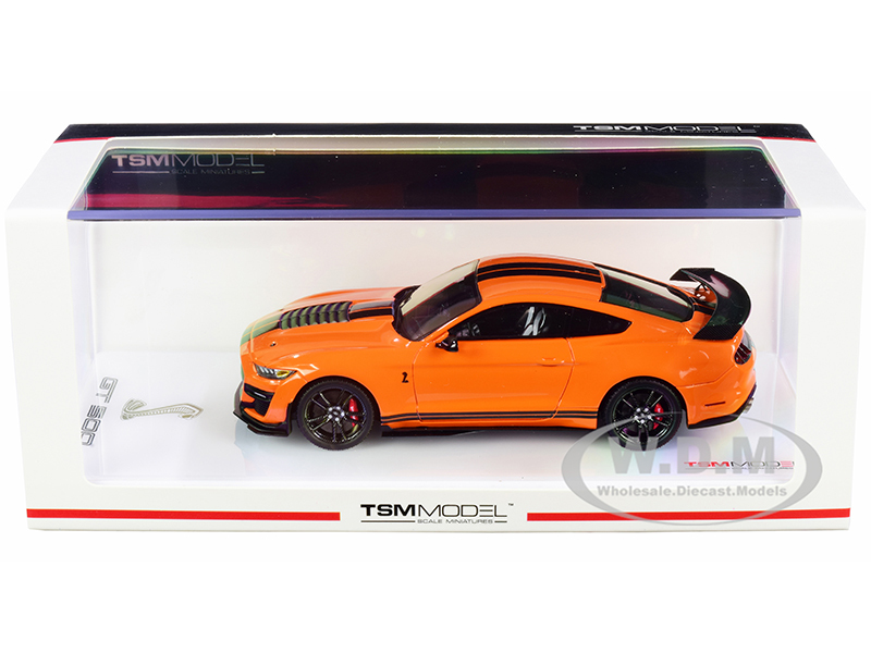 Ford Mustang Shelby GT500 Twister Orange Black Stripes 1/43 Model Car True Scale Miniatures TSM430479