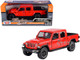 2021 Jeep Gladiator Overland Closed Top Pickup Truck Red 1/24 1/27 Diecast Model Car Motormax 79365