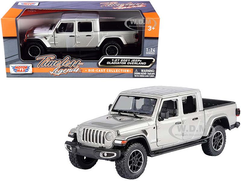 2021 Jeep Gladiator Overland Closed Top Pickup Truck Silver Metallic 1/24 1/27 Diecast Model Car Motormax 79365