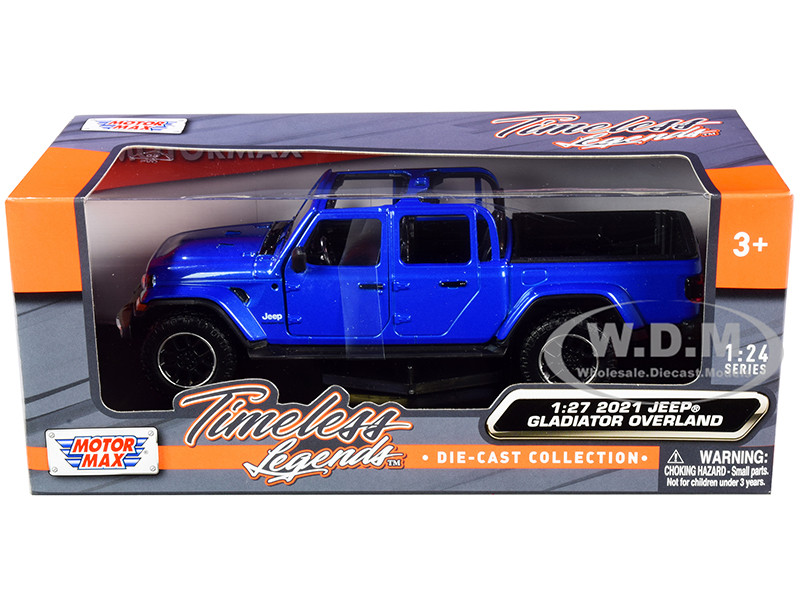 2021 Jeep Gladiator Overland Open Top Pickup Truck Blue Metallic 1/24 1/27 Diecast Model Car Motormax 79367
