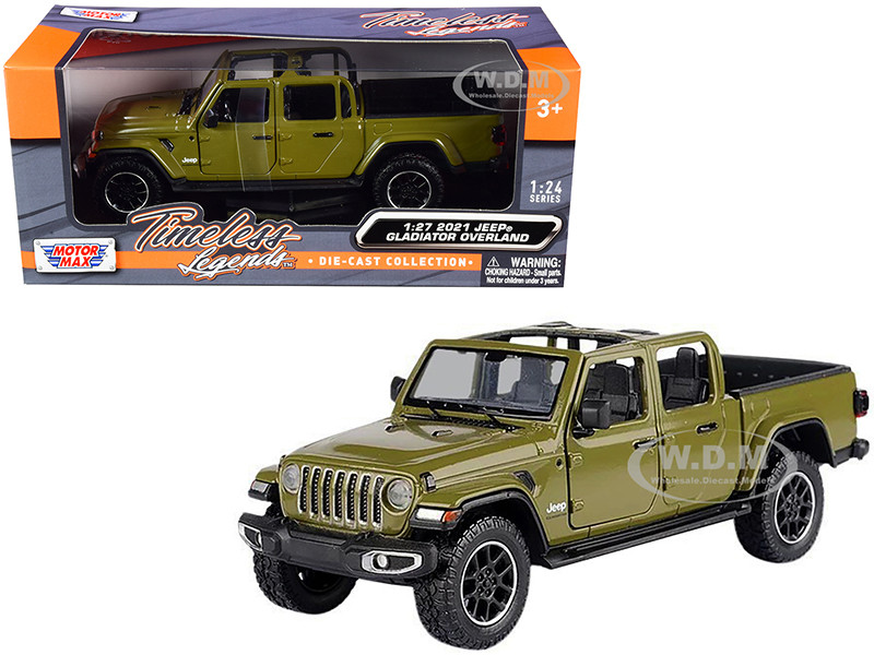 2021 Jeep Gladiator Overland Open Top Pickup Truck Matt Green 1/24 1/27 Diecast Model Car Motormax 79367