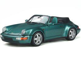 Porsche 911 (964) Carrera 2 Convertible Turbo Look Green Metallic Green Interior Limited Edition 911 pieces Worldwide 1/18 Model Car GT Spirit GT294
