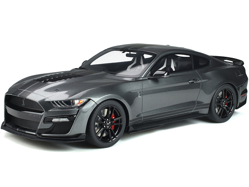 Ford Mustang Shelby GT500 Magnetic Gray Metallic Black Stripes Limited Edition 600 pieces Worldwide 1/12 Model Car GT Spirit GT814