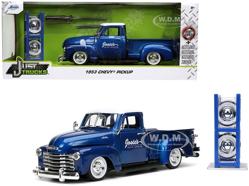 1953 Chevrolet 3100 Pickup Truck Josie's Auto Repair Blue Metallic White Top Extra Wheels Just Trucks Series 1/24 Diecast Model Car Jada 32311