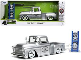 1955 Chevrolet Stepside Pickup Truck Iron Works Body Shop Silver Extra Wheels Just Trucks Series 1/24 Diecast Model Car Jada 32312