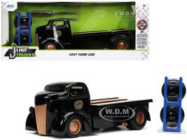 1947 Ford COE Flatbed Tow Truck Ford Motor Co Black Extra Wheels Just Trucks Series 1/24 Diecast Model Car Jada 32314