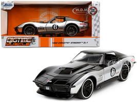 1969 Chevrolet Corvette Stingray ZL-1 #6 Black Silver Bigtime Muscle Series 1/24 Diecast Model Car Jada 32775