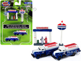 IH R-190 Tanker Trucks 2 pieces Blue White Service Station Sign Gas Pump Island Standard 1/160 N Scale Models Classic Metal Works 60002
