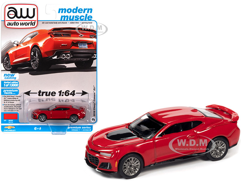 2018 Chevrolet Camaro ZL1 Red Hot Modern Muscle Limited Edition 13000 pieces Worldwide 1/64 Diecast Model Car Autoworld 64302 AWSP059 B