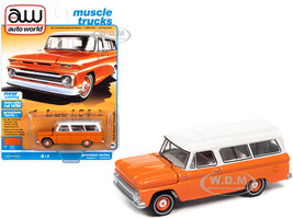 1965 Chevrolet Suburban Orange White Muscle Trucks Limited Edition 14704 pieces Worldwide 1/64 Diecast Model Car Autoworld 64302 AWSP060 B