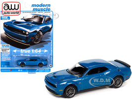 2019 Dodge Challenger R/T Scat Pack B5 Blue Metallic Modern Muscle Limited Edition 14704 pieces Worldwide 1/64 Diecast Model Car Autoworld 64302 AWSP061 B