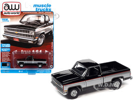1981 Chevrolet Silverado 10 Fleetside Pickup Truck Midnight Black Silver Metallic Muscle Trucks Limited Edition 19504 pieces Worldwide 1/64 Diecast Model Car Autoworld 64302 AWSP062 B