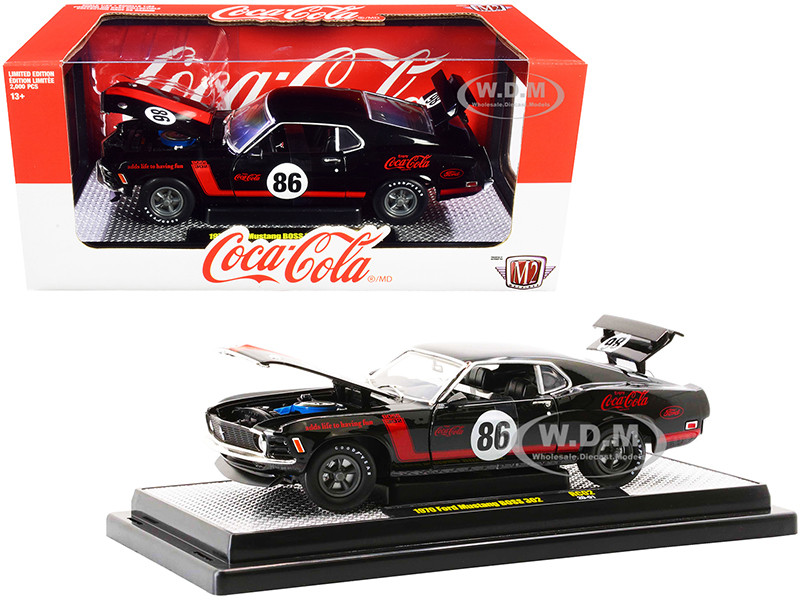 1970 Ford Mustang BOSS 302 #86 Black Coke Red Stripes Coca-Cola Limited Edition 2000 pieces Worldwide 1/24 Diecast Model Car M2 Machines 50300-RC02