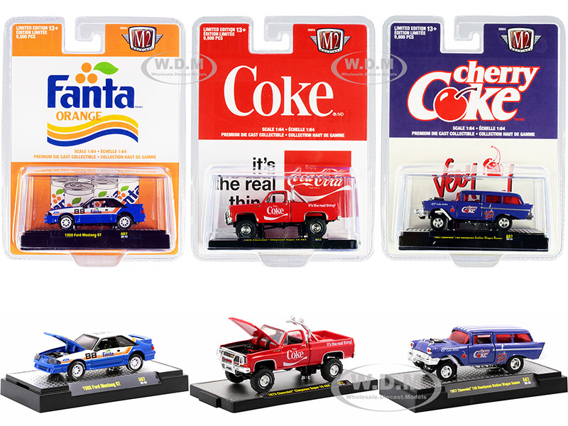 Coca-Cola & Fanta Set of 3 pieces Limited Edition 9600 pieces Worldwide 1/64 Diecast Model Cars M2 Machines 52500-A07