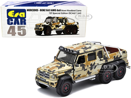Mercedes Benz G63 AMG 6x6 Pickup Truck Spotlight Brown Woodland Camo 1st Special Edition 1/64 Diecast Model Car Era Car MB206X6RF45