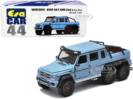 Mercedes Benz G63 AMG 6x6 Pickup Truck Baby Blue 1/64 Diecast Model Car Era Car MB206X6RN44