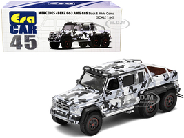 Mercedes Benz G63 AMG 6x6 Pickup Truck Spotlight Black White Camo 1/64 Diecast Model Car Era Car MB206X6RN45