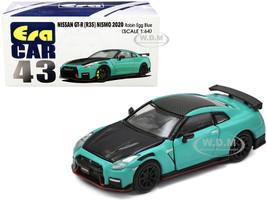 2020 Nissan GT-R R35 Nismo RHD Right Hand Drive Robin Egg Blue Carbon Black 1/64 Diecast Model Car Era Car NS20GTRRN43