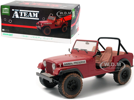 1981 Jeep CJ-7 Animal Preserve Red Dirty Version The A-Team 1983 1987 TV Series 1/18 Diecast Model Car Greenlight 19091